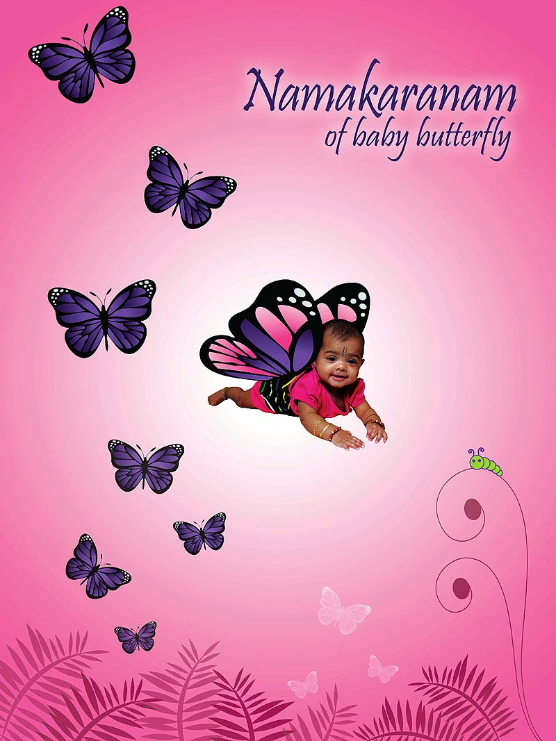 Butterfly theme backdrop for Baby name ceremony decoration