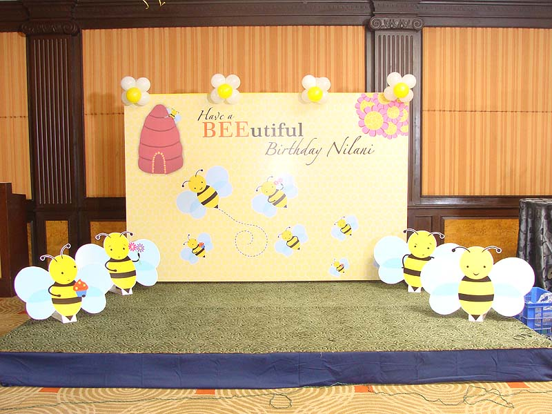 Stage decor bumble bee theme for Baby shower stage decoration