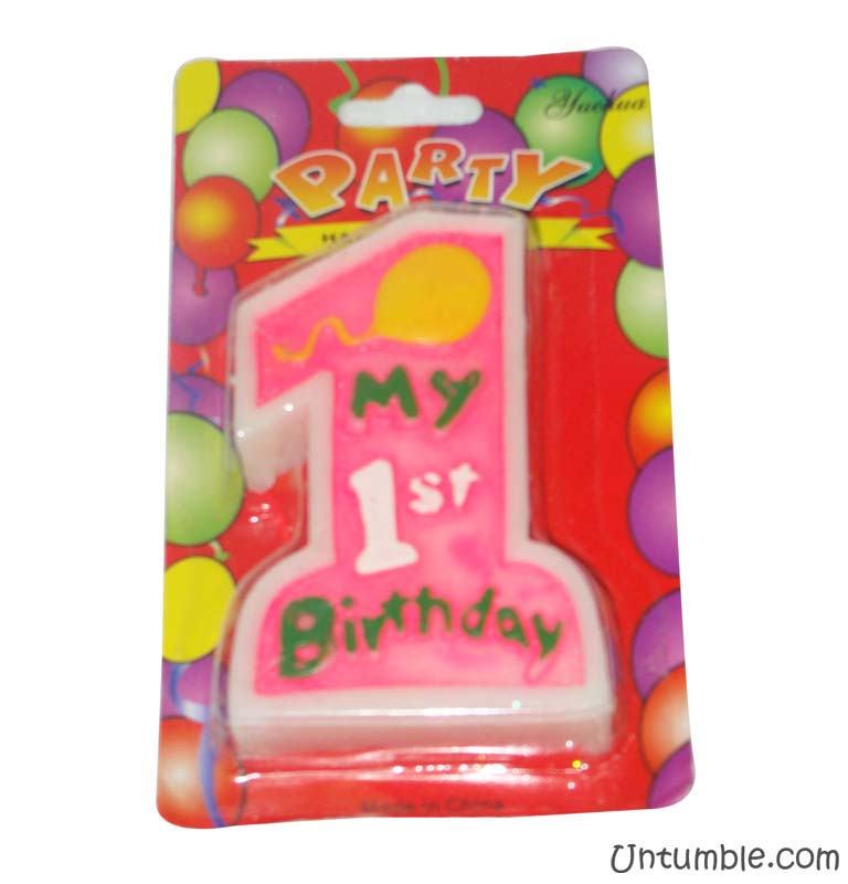 Peppa Pig Theme No 1 Pink Birthday Candle