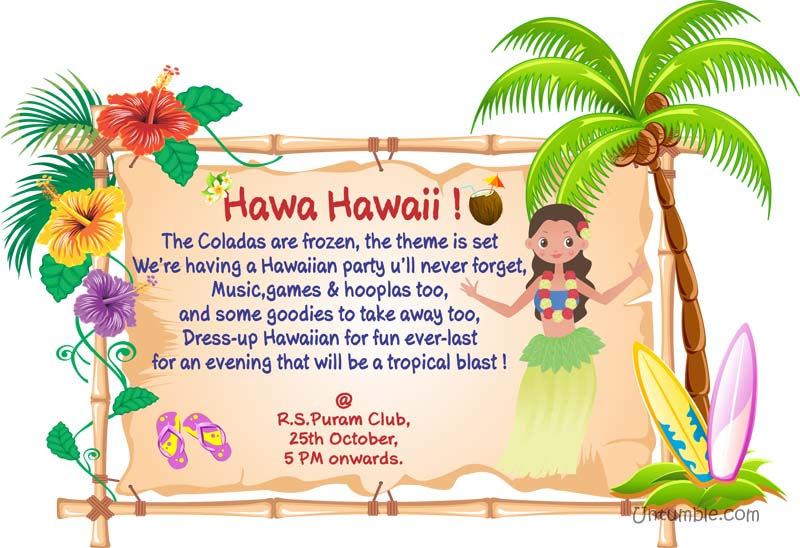 hawaiian theme rectangular invitations