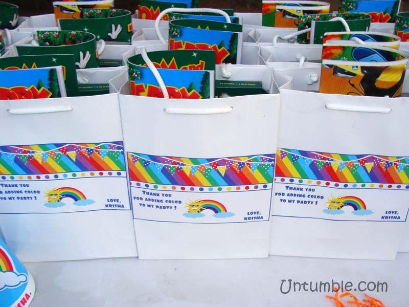 Rainbow Theme Stickered Gift Bags