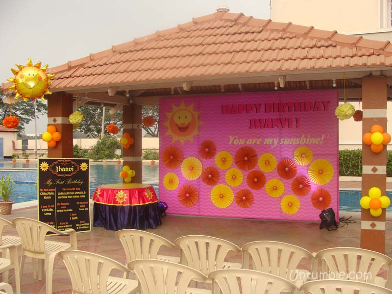 Stage decor my sunshine theme for Baby shower stage decoration