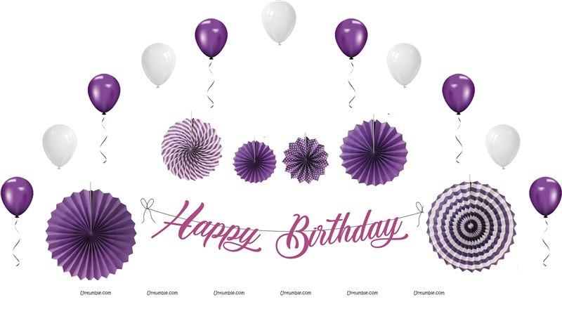 40th Birthday Theme Purple Decoration Kit Pack Of 27 Pcs