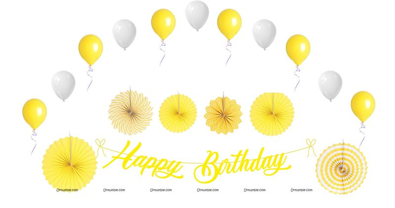 40th Birthday Theme Yellow Decoration Kit Pack Of 27 Pcs