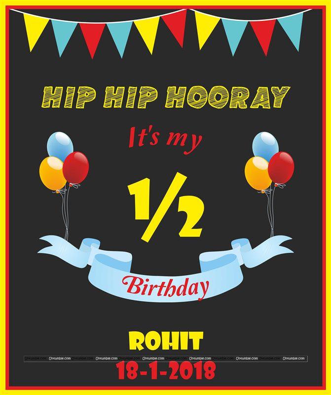 Birthday Date Poster: Six Month Birthday Theme Half Month Birthday Poster