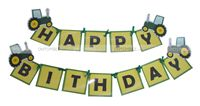 Happy Birthday Bunting - Tractor theme party supplies