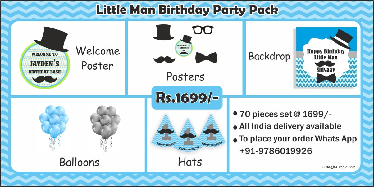 Little Man Theme Party supplies | Mustache Themed 1st Birthday party kits