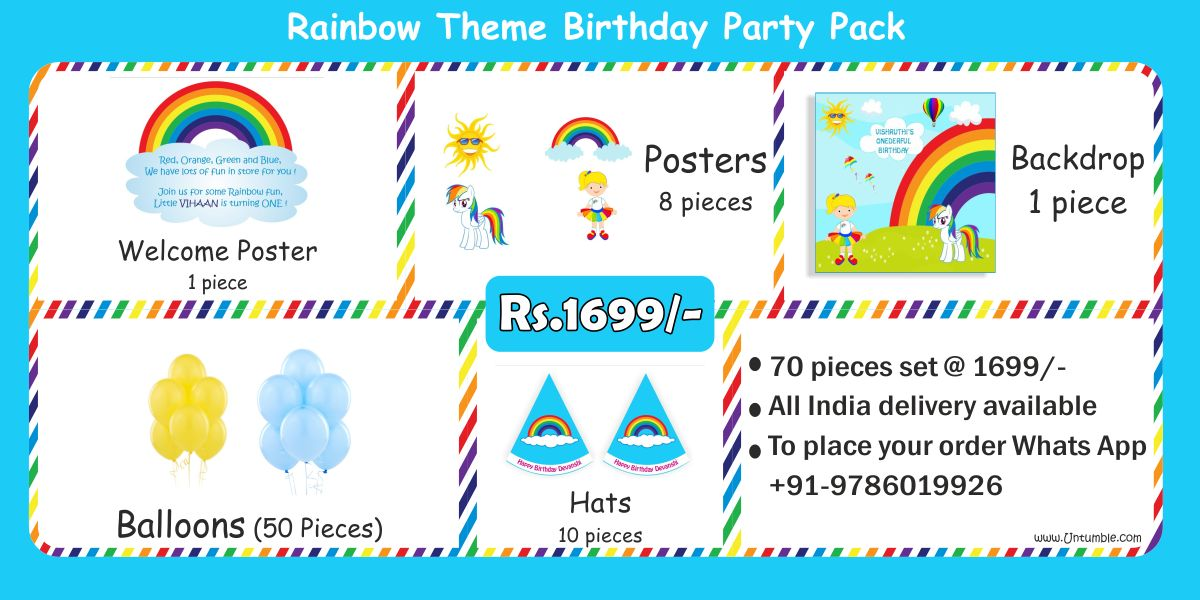 Rainbow theme colorful birthday party decoration party kits