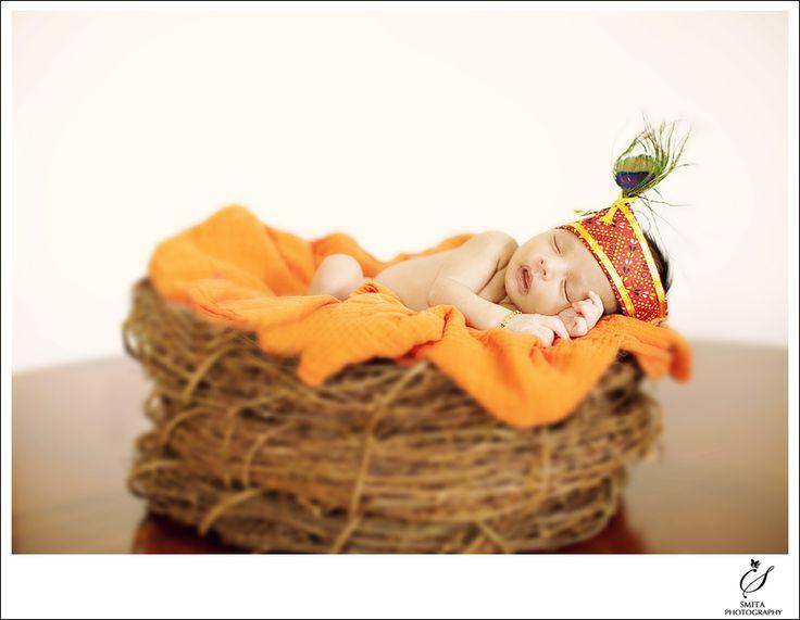 Baby as Krishna on Birds Nest