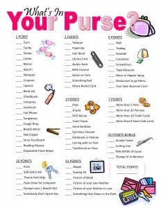 What's in your purse - Baby shower games