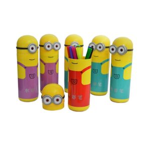 Sketch Pens Set In Minions Shaped Box For Kids Birthday Party Return Gift
