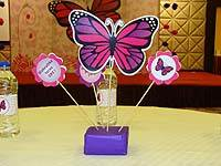 Dark pink and purple butterfly centerpiece  - Pink Butterfly Birthday