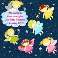 Fairy Princess theme Fairy starry night backdrop (Square)