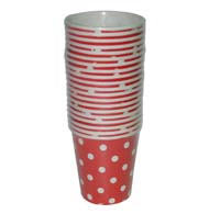 Red & white polka paper cups - Party Supplies