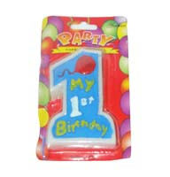 No 1 Blue Birthday Candle - Party Supplies