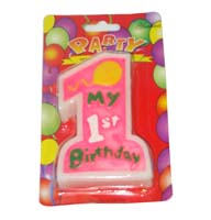 No 1 Pink Birthday Candle - Party Supplies
