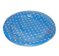Birthday Party Plate - Blue and white polka - Dirt Bike