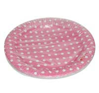 Birthday Party Plate - Pink and white polka - Princess