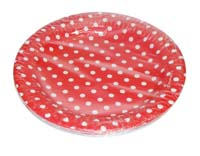 Birthday Party Plate - Red and white polka - Barnyard