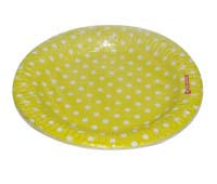 Birthday Party Plate - Yellow and white polka - Baby Zoo