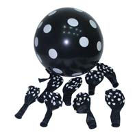 Black & white polka balloons (10) - Puppy/Dog party