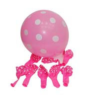Pink & white polka balloons (Pack of 10)