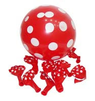 Red & white polka balloons (Pack of 10)