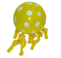 Yellow & white polka balloons (10)