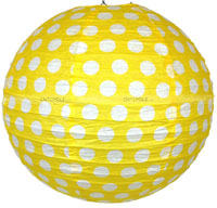 Paper Lanterns - Yellow Polka - Party Supplies