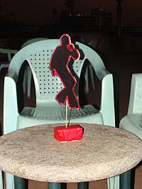 Red dancing man centerpiece - Hip Hop Retro