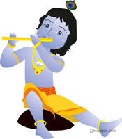 Little Krishna theme Krishna playing the flute poster