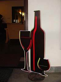 Neon theme Wine bottle and glass