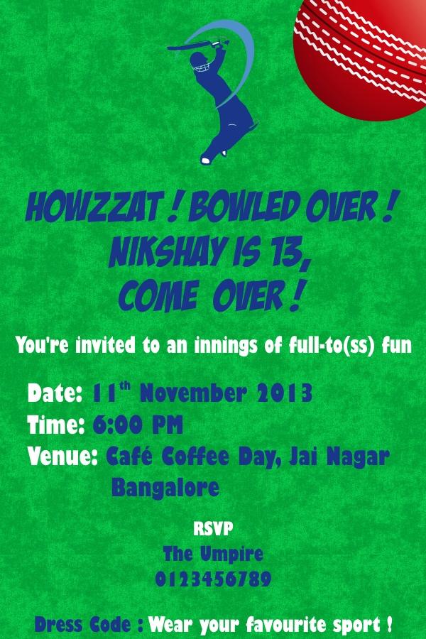 Cricket Birthday Invite Free Personalised Greetings