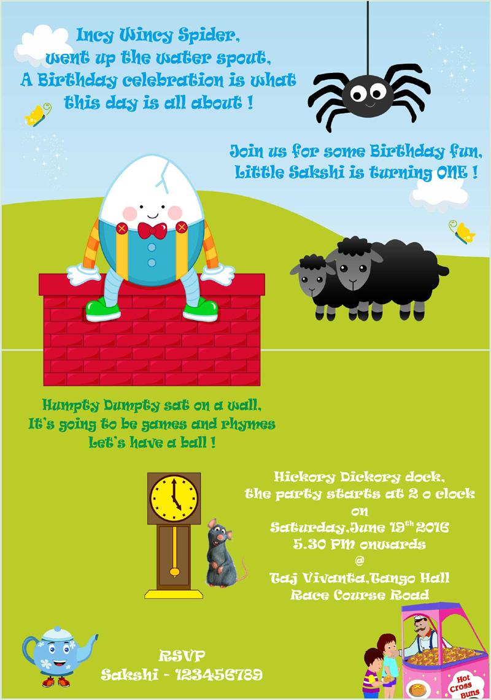 Nursery Rhyme Theme Birthday Invitations Free Personalised Greetings