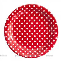 Christmas theme Birthday Party Plate - Red and white polka