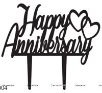 Happy Anniversary double heart Cake Topper