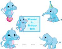 Baby Elephant theme Posters pack of 5