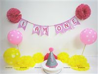 Cake Smash theme Cake Smash Props Pink & Yellow (Set of 29 pieces)