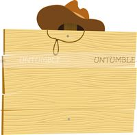 Cowboy theme Wooden Board with hat Food Label
