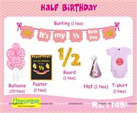 Cake Smash theme Pink Half Birthday party kit