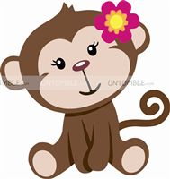 Monkey theme Little Monkey Girl Cutout
