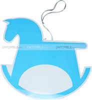 Pink & Blue  theme Rocking horse poster