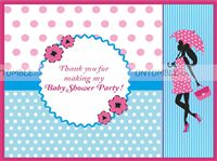 Pink & Blue  theme Thank you cards