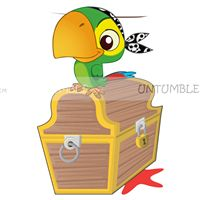 Parrot with treasure chest poster - Pirate birthday