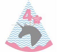 Unicorn theme 4th Birthday Hats