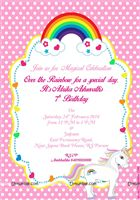 Unicorn theme party invite (Pack of 10)