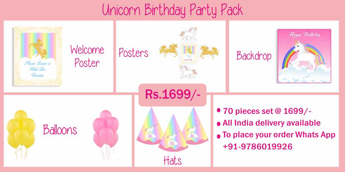 Unicorn themed birthday party supplies & decorations party kits